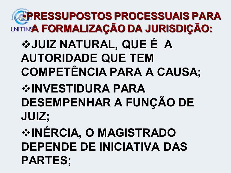 PRESSUPOSTOS PROCESSUAIS PARA A FORMALIZAÇÃO DA JURISDIÇÃO: