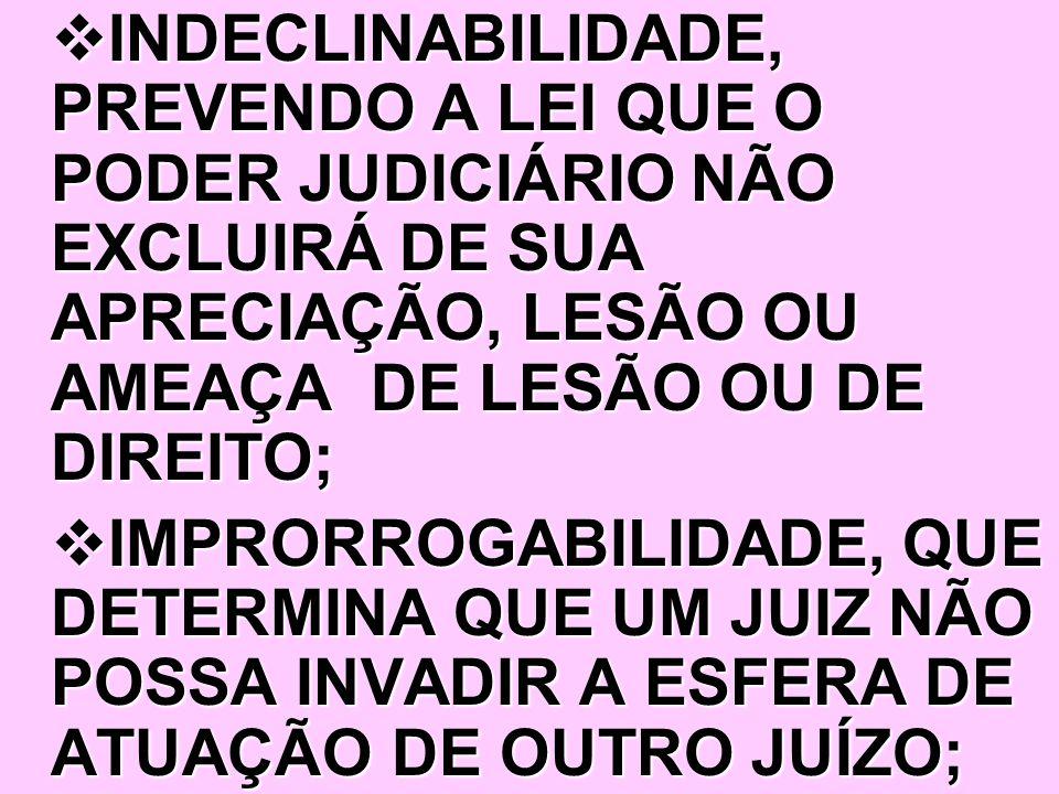 INDECLINABILIDADE, PREVENDO A LEI QUE O PODER JUDICIÁRIO NÃO EXCLUIRÁ DE SUA APRECIAÇÃO, LESÃO OU AMEAÇA DE LESÃO OU DE DIREITO;
