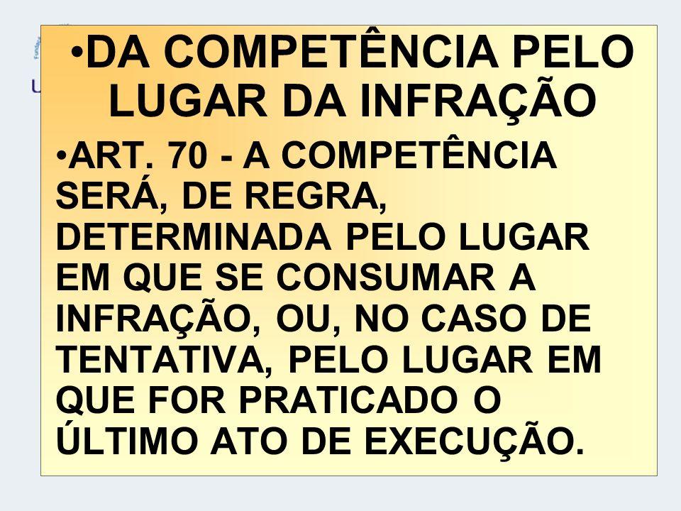 DA COMPETÊNCIA PELO LUGAR DA INFRAÇÃO