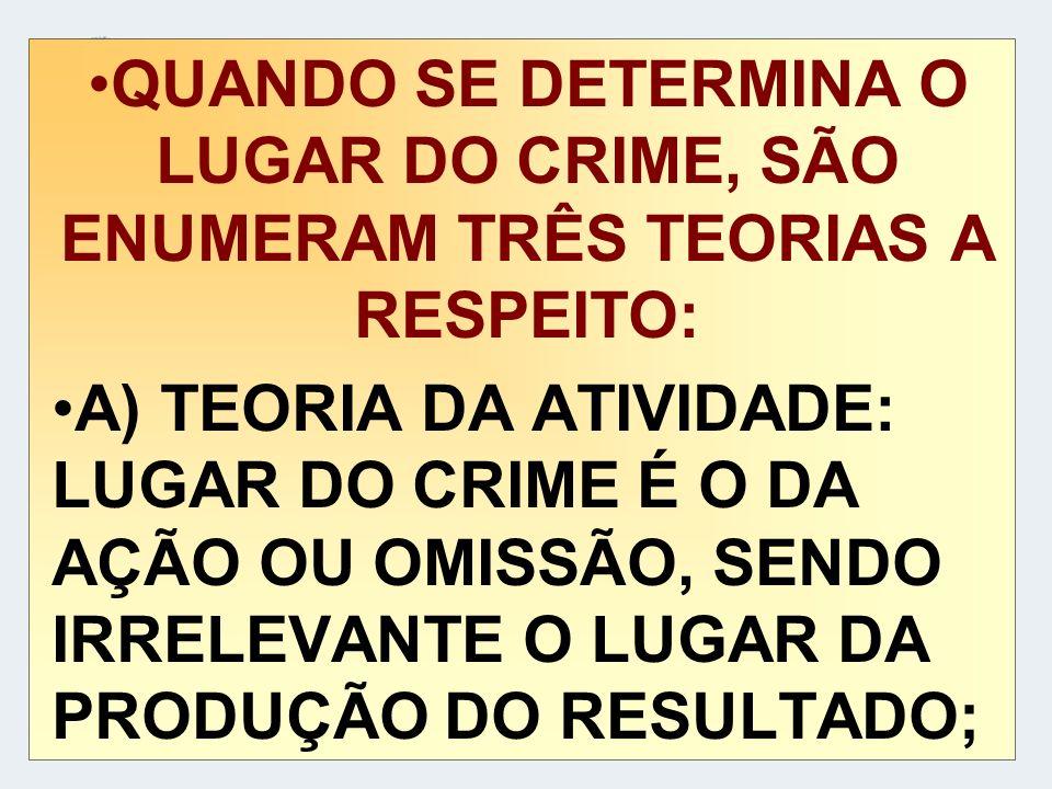 QUANDO SE DETERMINA O LUGAR DO CRIME, SÃO ENUMERAM TRÊS TEORIAS A RESPEITO: