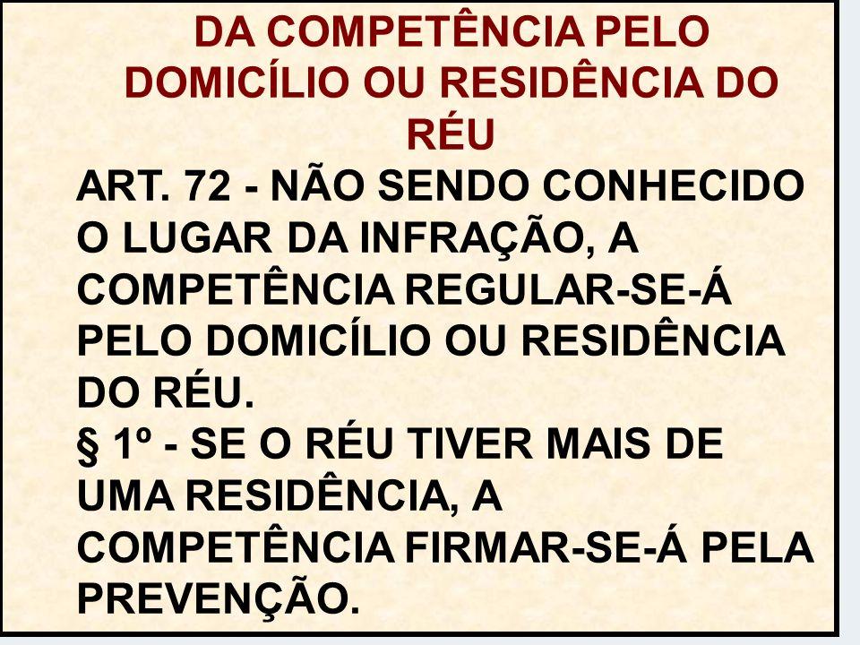 DA COMPETÊNCIA PELO DOMICÍLIO OU RESIDÊNCIA DO RÉU