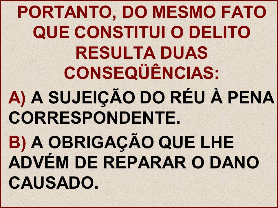PORTANTO, DO MESMO FATO QUE CONSTITUI O DELITO RESULTA DUAS CONSEQÜÊNCIAS: