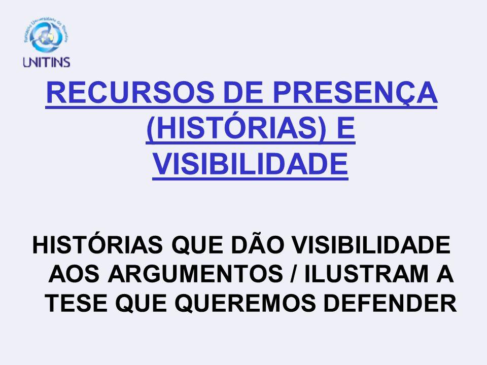 RECURSOS DE PRESENÇA (HISTÓRIAS) E VISIBILIDADE