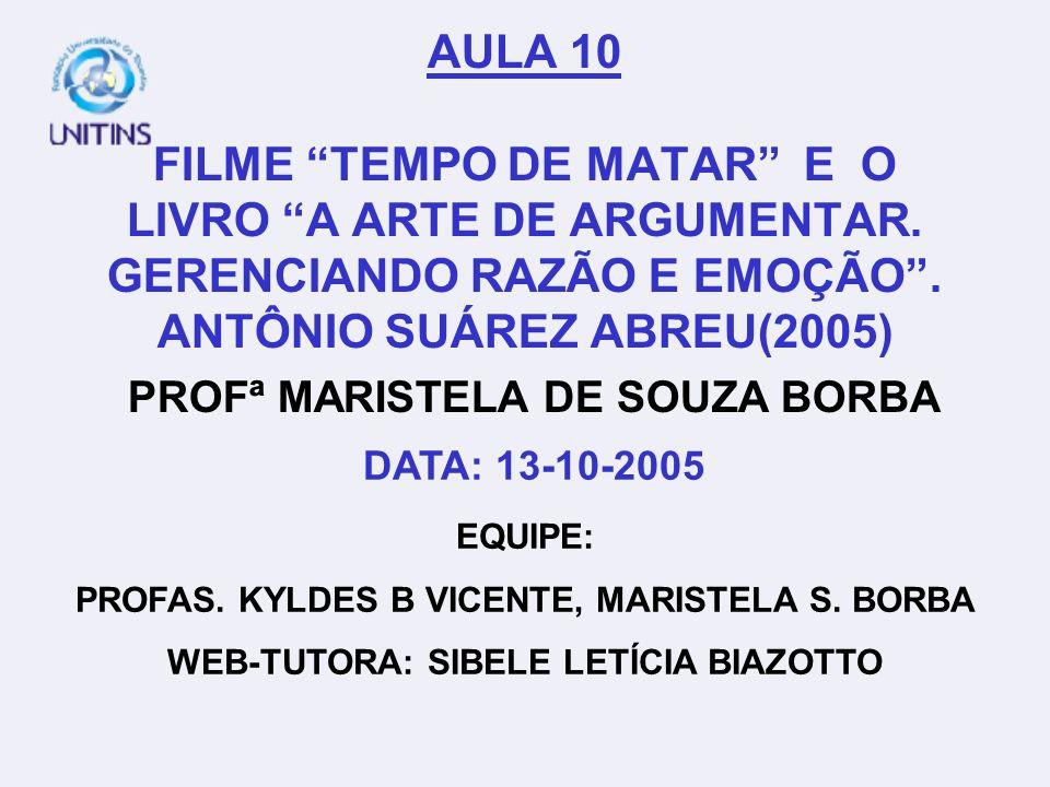 AULA 10 FILME TEMPO DE MATAR E O LIVRO A ARTE DE ARGUMENTAR