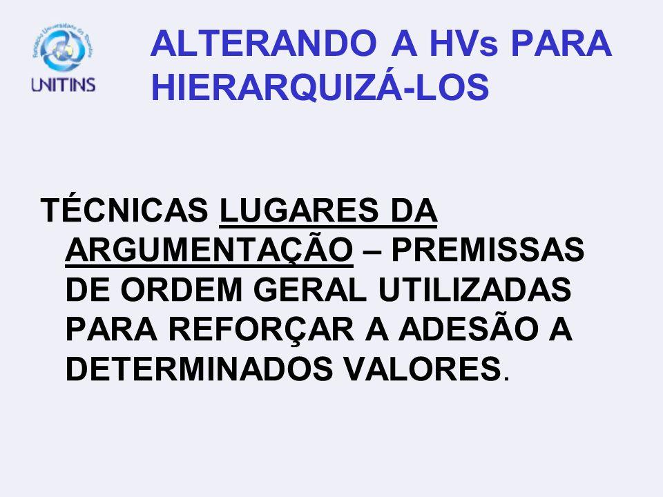 ALTERANDO A HVs PARA HIERARQUIZÁ-LOS