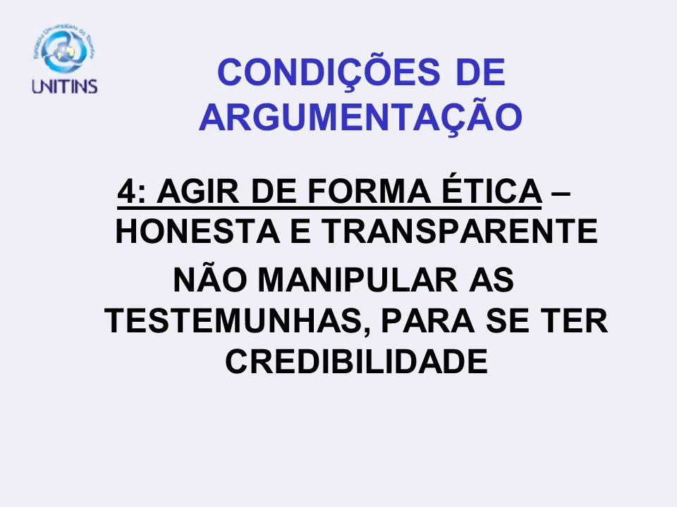 CONDIÇÕES DE ARGUMENTAÇÃO