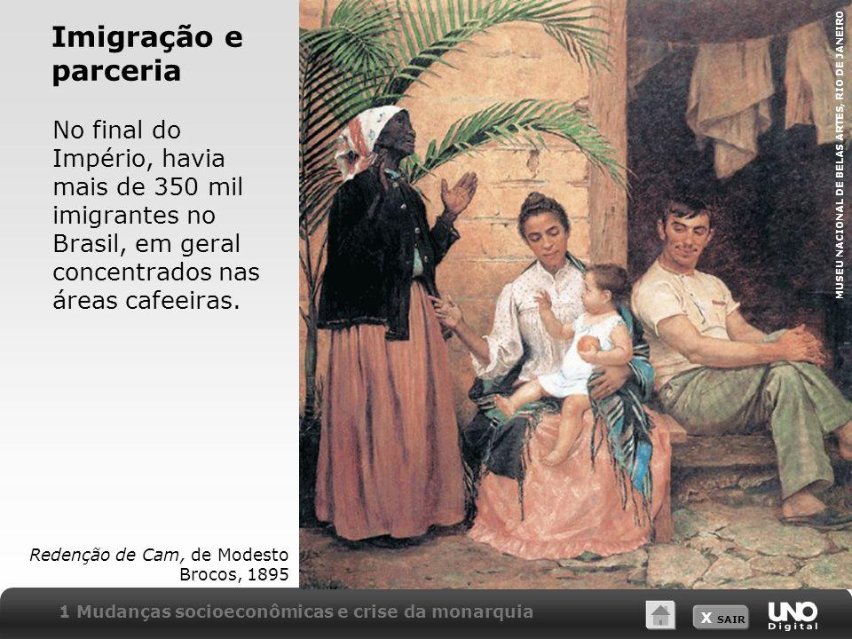 Imigração e parceria No final do Império, havia mais de 350 mil imigrantes no Brasil, em geral concentrados nas áreas cafeeiras.