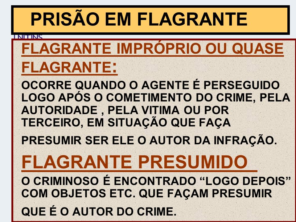 PRISÃO EM FLAGRANTE FLAGRANTE PRESUMIDO