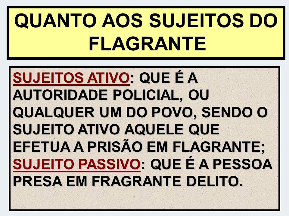 QUANTO AOS SUJEITOS DO FLAGRANTE