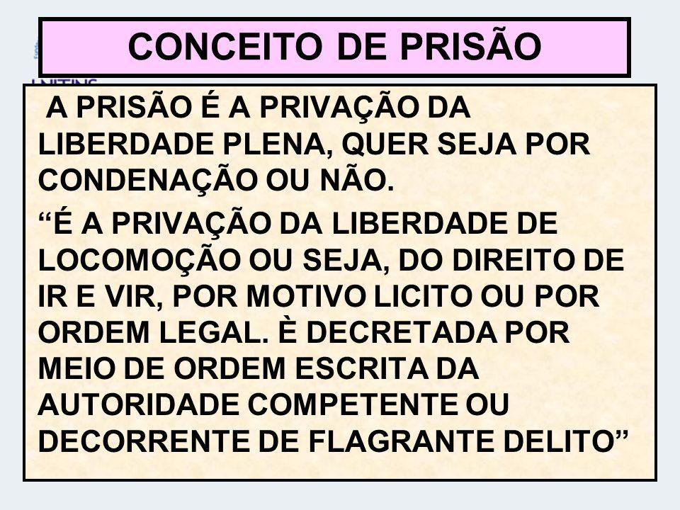 CONCEITO DE PRISÃO A PRISÃO É A PRIVAÇÃO DA LIBERDADE PLENA, QUER SEJA POR CONDENAÇÃO OU NÃO.