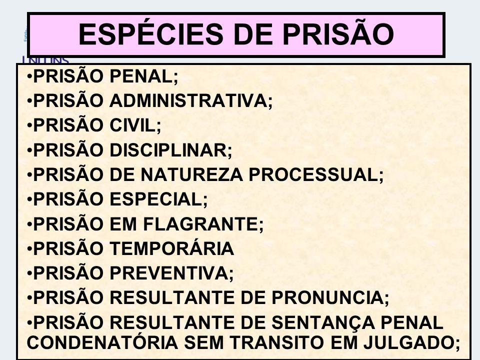 ESPÉCIES DE PRISÃO PRISÃO PENAL; PRISÃO ADMINISTRATIVA; PRISÃO CIVIL;