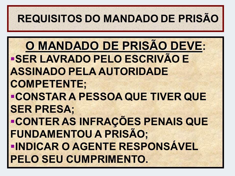 REQUISITOS DO MANDADO DE PRISÃO O MANDADO DE PRISÃO DEVE: