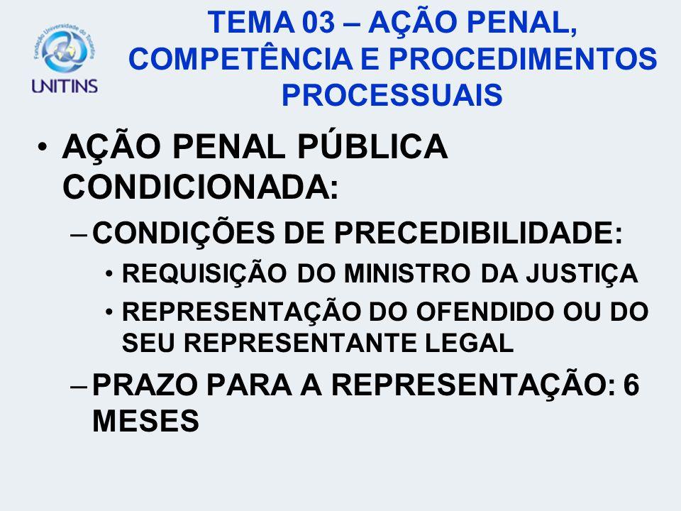 TEMA 03 – AÇÃO PENAL, COMPETÊNCIA E PROCEDIMENTOS PROCESSUAIS