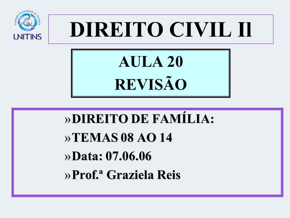 DIREITO CIVIL Il AULA 20 REVISÃO DIREITO DE FAMÍLIA: TEMAS 08 AO 14