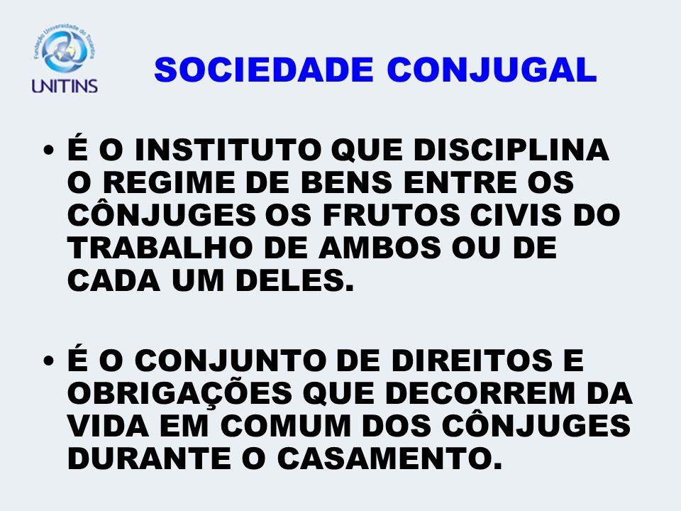 SOCIEDADE CONJUGAL É O INSTITUTO QUE DISCIPLINA O REGIME DE BENS ENTRE OS CÔNJUGES OS FRUTOS CIVIS DO TRABALHO DE AMBOS OU DE CADA UM DELES.