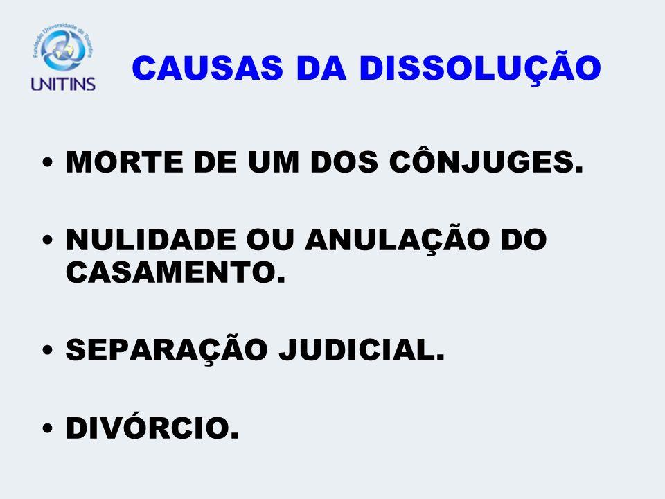 CAUSAS DA DISSOLUÇÃO MORTE DE UM DOS CÔNJUGES.