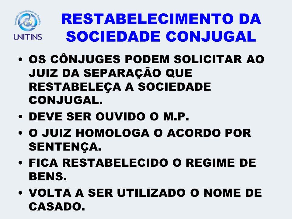 RESTABELECIMENTO DA SOCIEDADE CONJUGAL