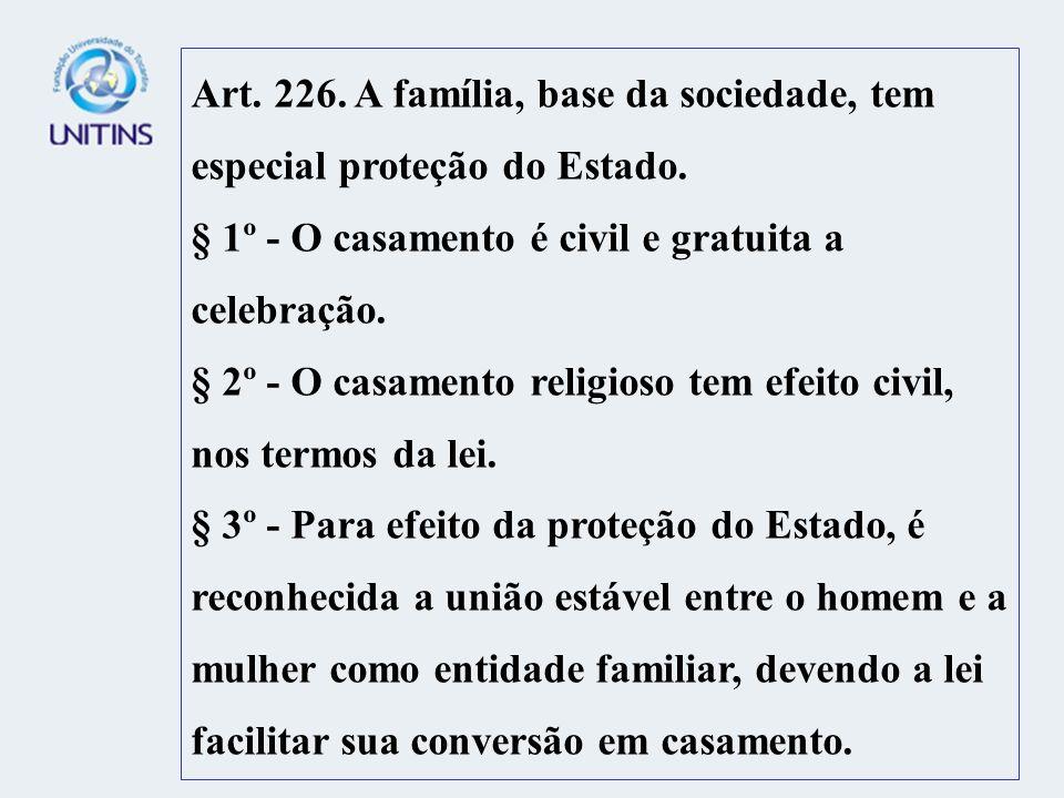 Art. 226. A família, base da sociedade, tem especial proteção do Estado.