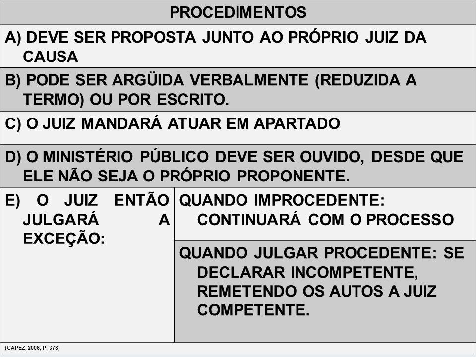 A) DEVE SER PROPOSTA JUNTO AO PRÓPRIO JUIZ DA CAUSA