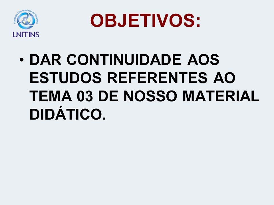 OBJETIVOS: DAR CONTINUIDADE AOS ESTUDOS REFERENTES AO TEMA 03 DE NOSSO MATERIAL DIDÁTICO.