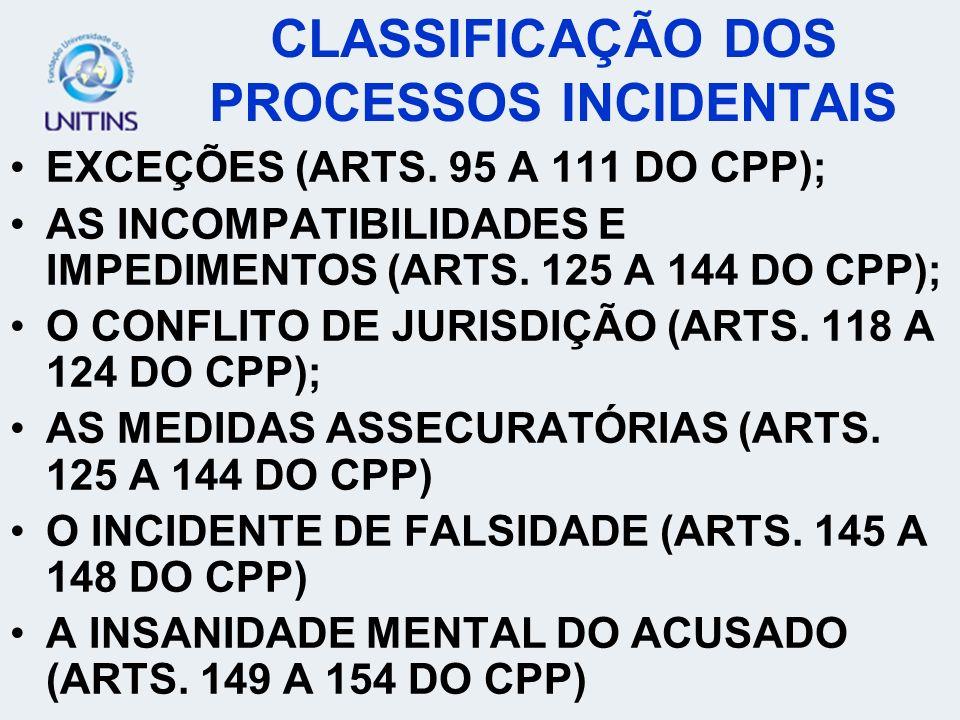 CLASSIFICAÇÃO DOS PROCESSOS INCIDENTAIS
