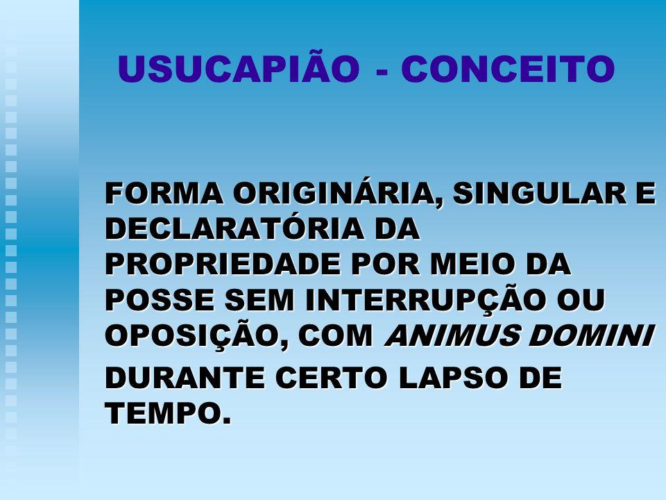 USUCAPIÃO - CONCEITO FORMA ORIGINÁRIA, SINGULAR E DECLARATÓRIA DA PROPRIEDADE POR MEIO DA POSSE SEM INTERRUPÇÃO OU OPOSIÇÃO, COM ANIMUS DOMINI.