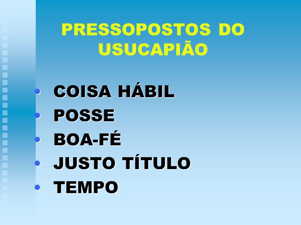PRESSOPOSTOS DO USUCAPIÃO