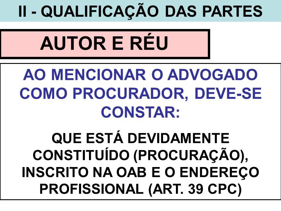 AUTOR E RÉU II - QUALIFICAÇÃO DAS PARTES