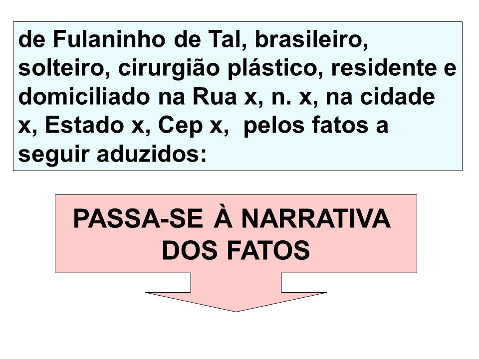 PASSA-SE À NARRATIVA DOS FATOS