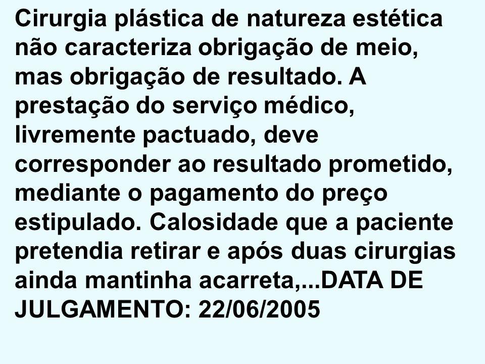 Cirurgia plástica de natureza estética não caracteriza obrigação de meio, mas obrigação de resultado.