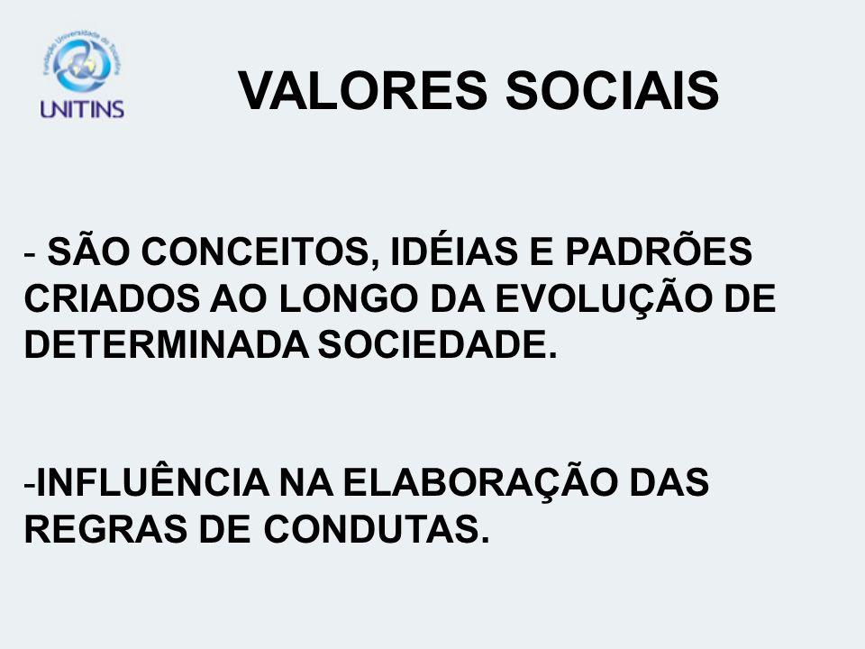 VALORES SOCIAIS SÃO CONCEITOS, IDÉIAS E PADRÕES CRIADOS AO LONGO DA EVOLUÇÃO DE DETERMINADA SOCIEDADE.