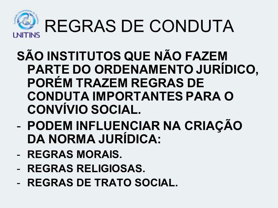 REGRAS DE CONDUTA SÃO INSTITUTOS QUE NÃO FAZEM PARTE DO ORDENAMENTO JURÍDICO, PORÉM TRAZEM REGRAS DE CONDUTA IMPORTANTES PARA O CONVÍVIO SOCIAL.