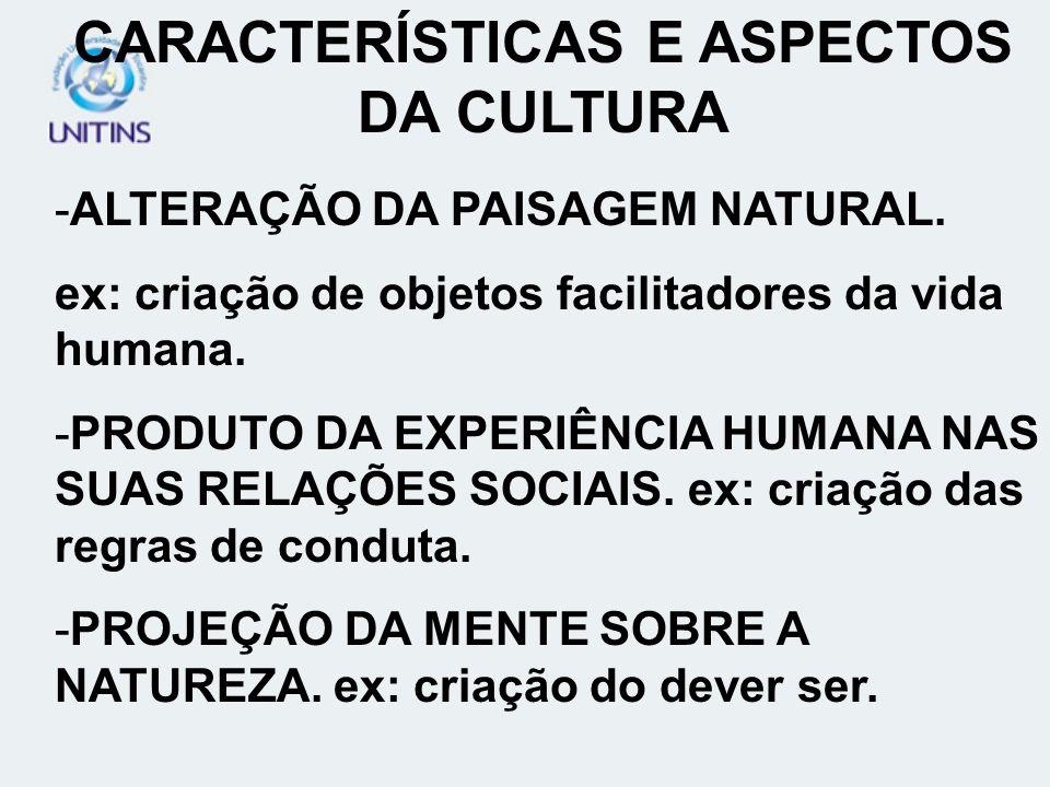 CARACTERÍSTICAS E ASPECTOS DA CULTURA