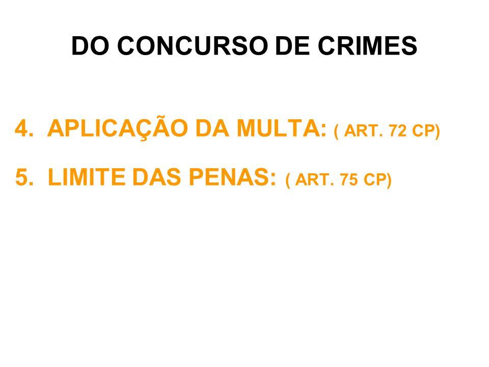 DO CONCURSO DE CRIMES APLICAÇÃO DA MULTA: ( ART. 72 CP)