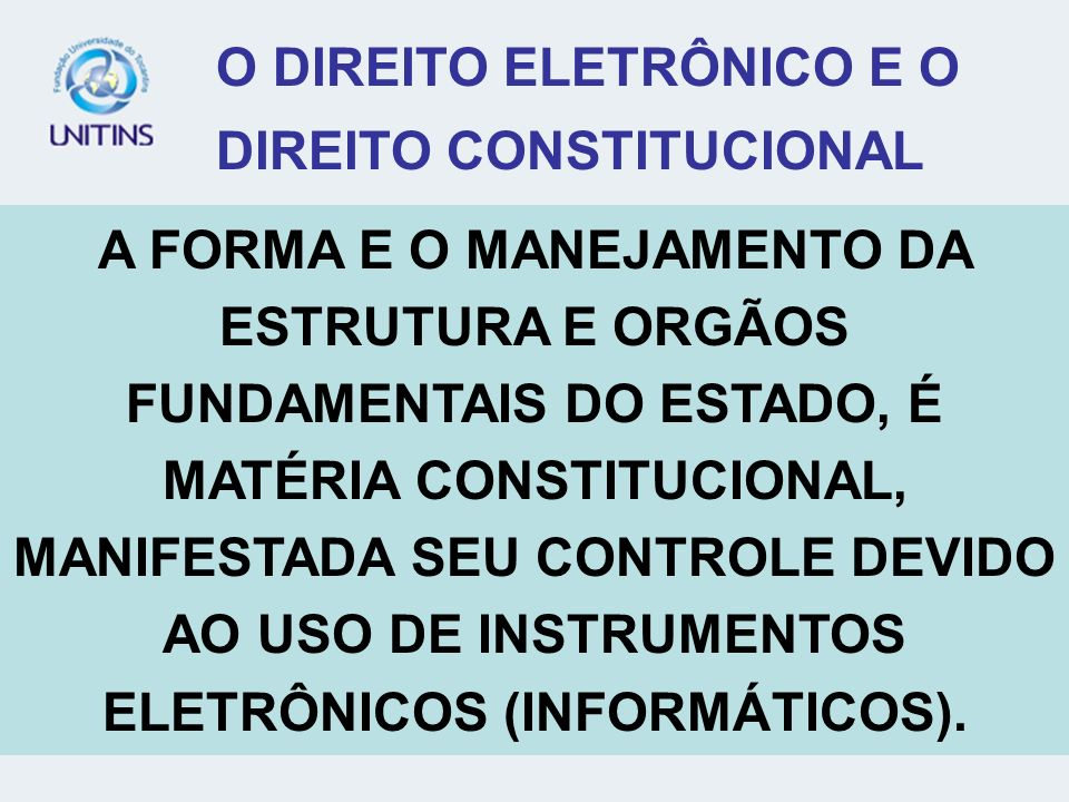 O DIREITO ELETRÔNICO E O DIREITO CONSTITUCIONAL