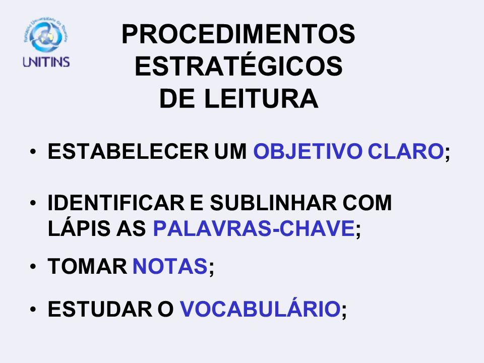 PROCEDIMENTOS ESTRATÉGICOS DE LEITURA
