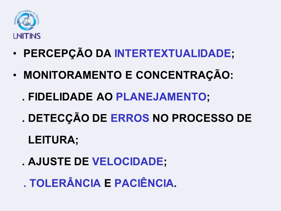 PERCEPÇÃO DA INTERTEXTUALIDADE;
