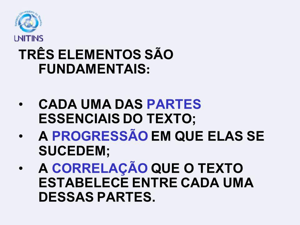 TRÊS ELEMENTOS SÃO FUNDAMENTAIS: