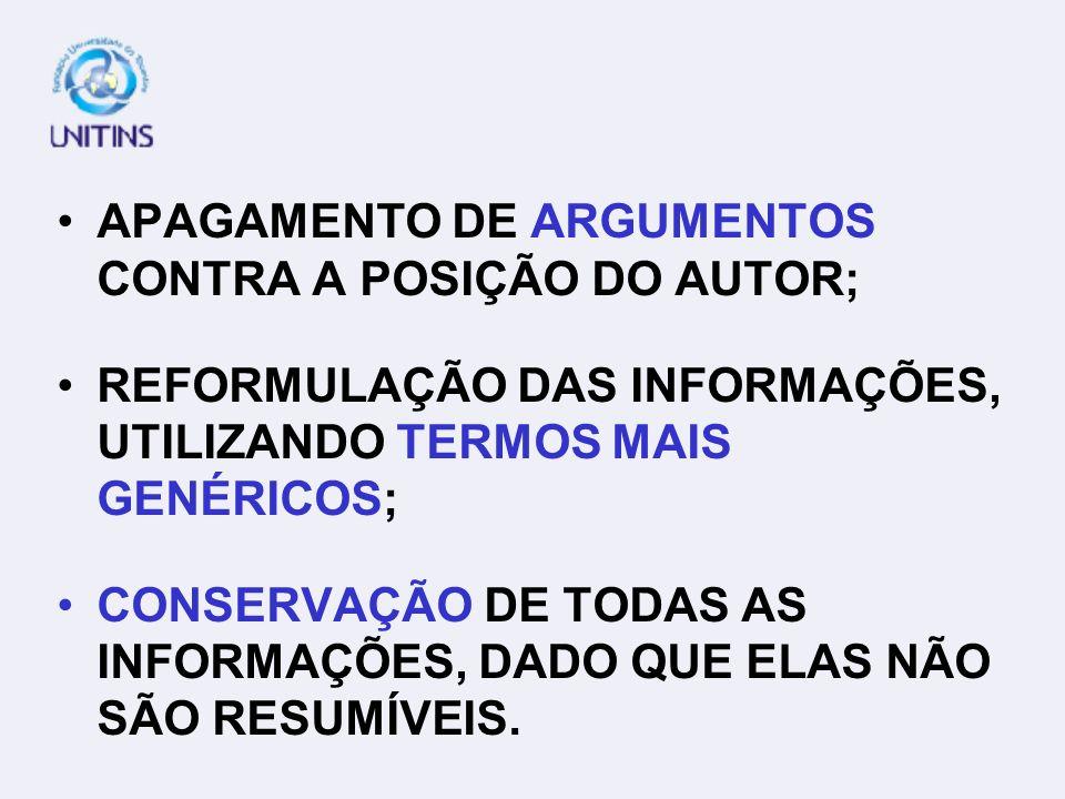 APAGAMENTO DE ARGUMENTOS CONTRA A POSIÇÃO DO AUTOR;