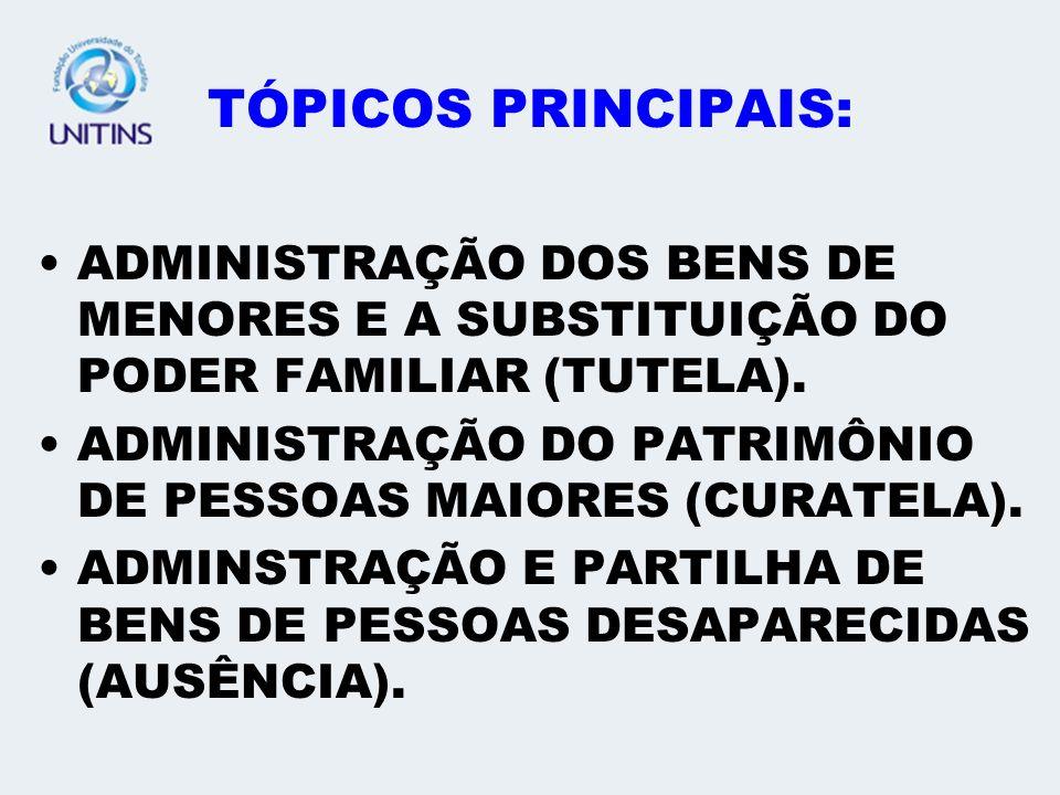 TÓPICOS PRINCIPAIS: ADMINISTRAÇÃO DOS BENS DE MENORES E A SUBSTITUIÇÃO DO PODER FAMILIAR (TUTELA).