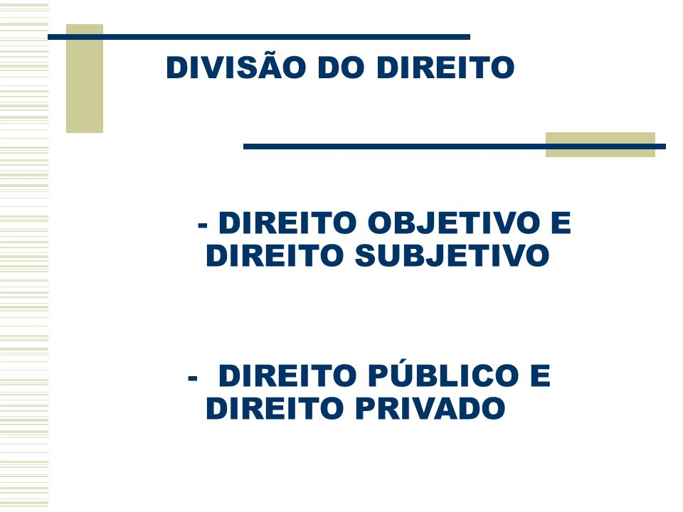 DIVISÃO DO DIREITO - DIREITO OBJETIVO E DIREITO SUBJETIVO - DIREITO PÚBLICO E DIREITO PRIVADO