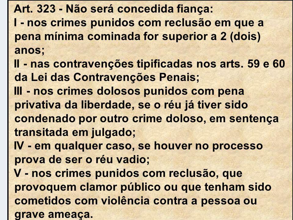 Art. 323 - Não será concedida fiança: