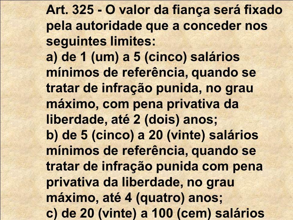 Art. 325 - O valor da fiança será fixado pela autoridade que a conceder nos seguintes limites: