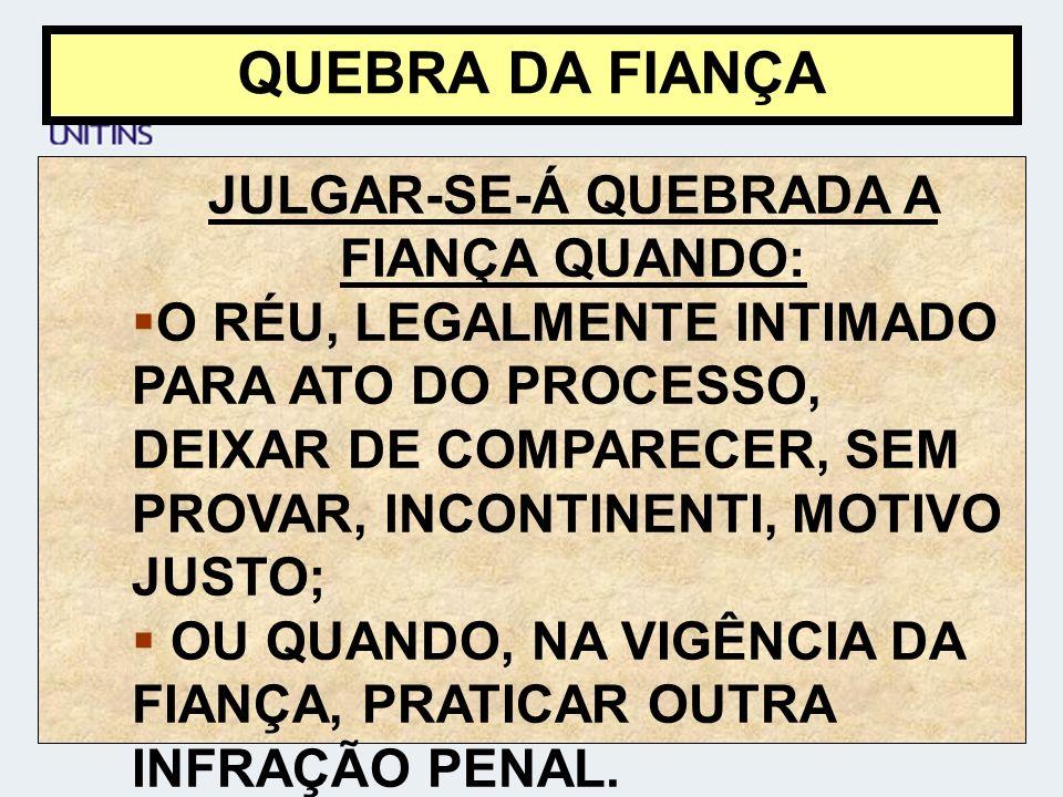 JULGAR-SE-Á QUEBRADA A FIANÇA QUANDO: