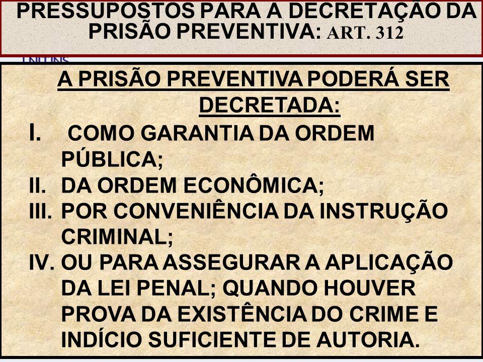 A PRISÃO PREVENTIVA PODERÁ SER DECRETADA: