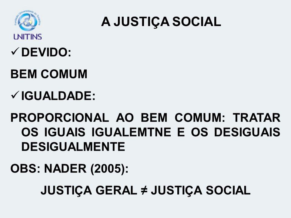 JUSTIÇA GERAL ≠ JUSTIÇA SOCIAL