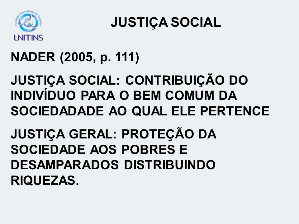 JUSTIÇA SOCIAL NADER (2005, p. 111)