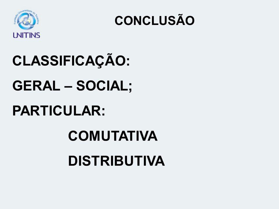 CLASSIFICAÇÃO: GERAL – SOCIAL; PARTICULAR: COMUTATIVA DISTRIBUTIVA