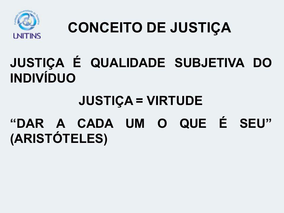 CONCEITO DE JUSTIÇA JUSTIÇA É QUALIDADE SUBJETIVA DO INDIVÍDUO