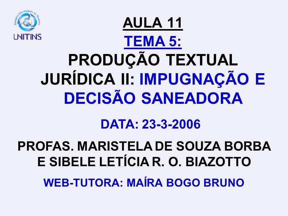AULA 11 TEMA 5: PRODUÇÃO TEXTUAL JURÍDICA II: IMPUGNAÇÃO E DECISÃO SANEADORA
